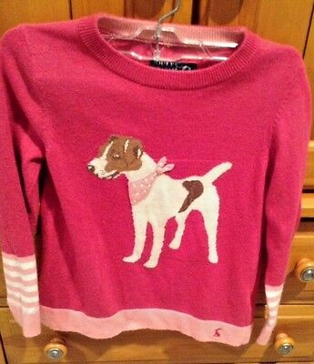 JOULES GIRLS JR CHRISSIE INTARSIA PINK DOG Sweater SIZE 7-8 YEARS 128 cm