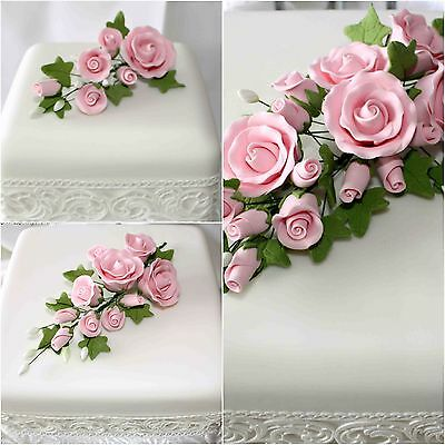 PINK TEA ROSE SPRAY SMALL/MEDIUM/LARGE Sugar Flowers Cake Topper Sugarcraft