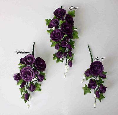 TEA ROSE SPRAY Purple SMALL/MEDIUM/LARGE Sugar Flowers Cake Topper Sugarcraft.