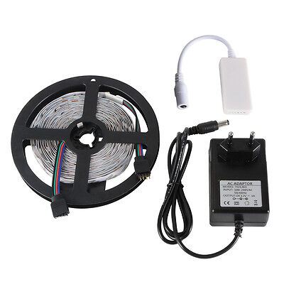 5M SMD 5050 LED Strip Light+Wifi Wireless RGB Control for IOS Android 12V LD996