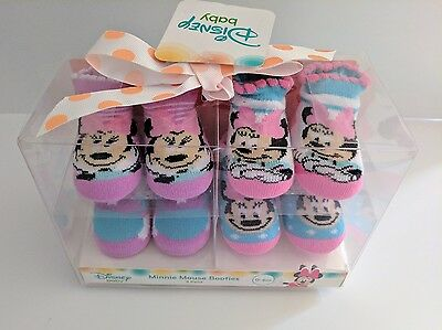 NIP Disney Baby Girl's 4 Pack Minnie Mouse Socks Booties 0-6 Months Infant Pink