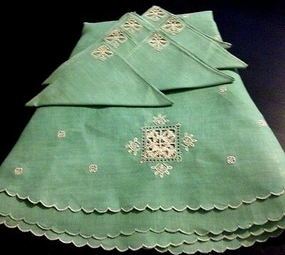 Stunning Green Round Linen Tea Tablecloth & 6 Napkins Reticella Hand Embroidery