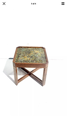 Mid Century Modern John Keal for Brown Saltman wood resin and glass end table