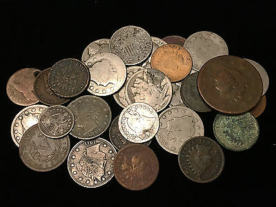 Cull lot, 28 coins, Indian Head, Seated Liberty half dime, Shield & V nickels