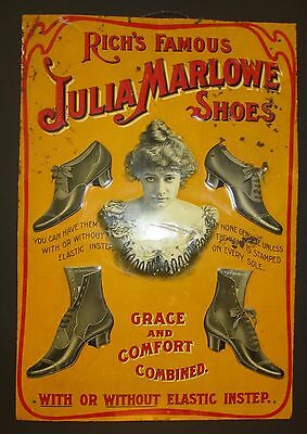 RARE Antique Rich Famous Julia Marlowe Shoes  Embossed Tin Sign 19 x13