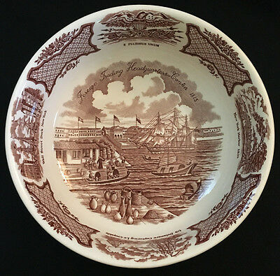 Fair Winds England Meakin Brown Round Vegetable Bowl Wall Street Dock NY Harbor