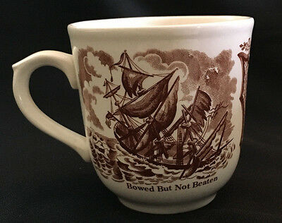 "Fair Winds England Meakin Coffee Tea Large Mug Cup 3 1/2"" Brown Ship and Flower"