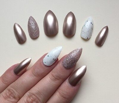Hand Painted False Nails STILETTO (Or ANY SHAPE) Gloss Champagne Gold Bronze. UK