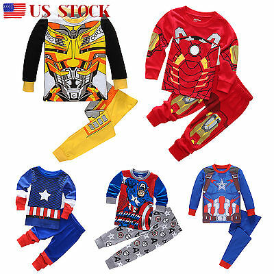 Boy Marvel Cartoon Sleepwear Toddler Kids Nightwear Pj's Pajamas Pyjamas Outfit