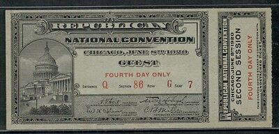 1920 REPUBLICAN NATIONAL CONVENTION TICKET w/coupon Chicago IL