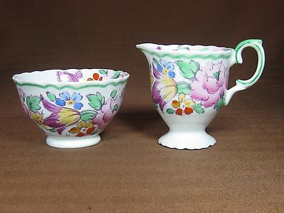 Crown Staffordshire Individual Creamer and Open Sugar Bowl Flowers Green Trim