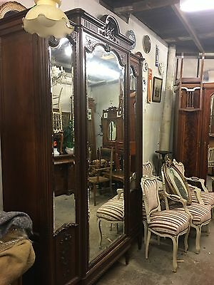 Antique French Walnut Triple Armoire