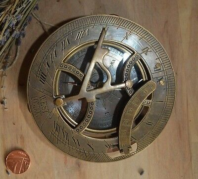 Large West London Antique Reproduction Solid Brass Sundial Engraved Compass