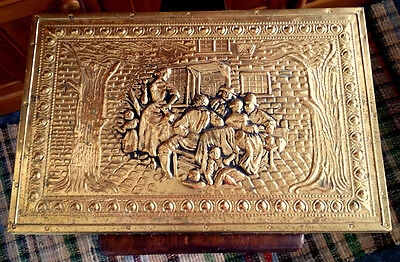 Antique Hammered Brass ENGLISH Tavern Scene VINTAGE Coal Log Storage Chest Box