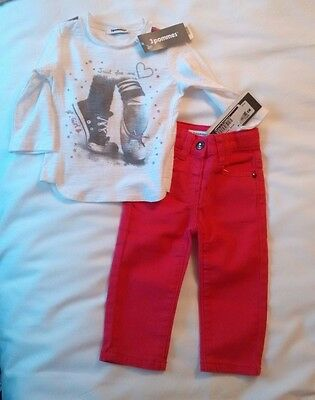 3 Pommes Baby Girl Pink Jeans and Top Set - 6 months