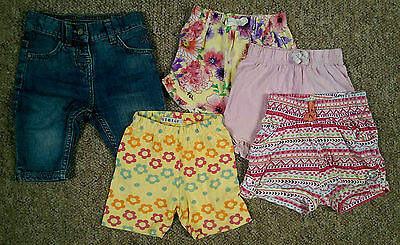 Girls shorts set of 5, 4 soft cotton and one denim. Size 12-18 months