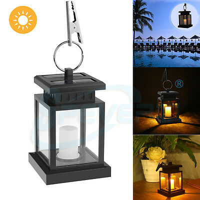 Outdoor Solar Powered LED Candle Table Lantern Light Garden Walkway Hanging Lamp