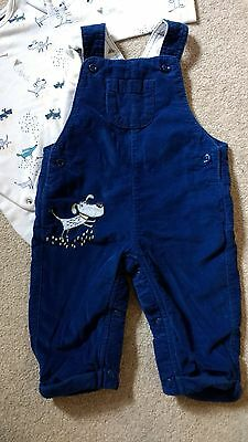 Baby boy navy cord dungarees & bodysuit set M&S 3-6 months