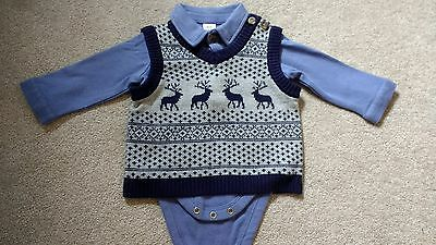 Baby boy outfit bodysuit jumper trousers occasion wedding christening 3-6 months