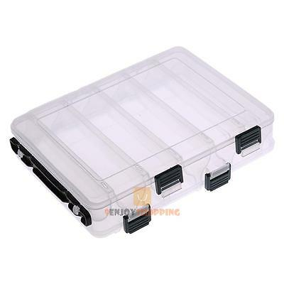 Double Sided 10 Compartment Fishing Lure Bait Hooks Waterproof Storage Box Case