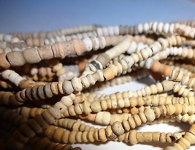 Coptic terracotta bead necklace, Egypt, c. 500-700 A.D. Genuine.