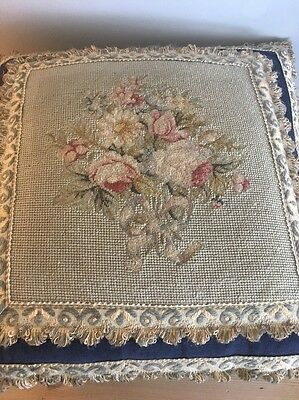 Stunning Needle Point Antique Feather Filled Cushion.
