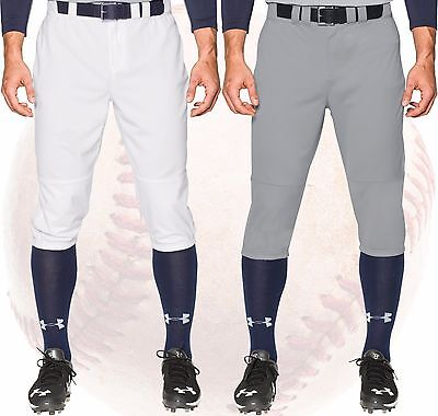 Under Armour Leadoff Knicker Baseball Pants Knee Length 1268574 White, Grey