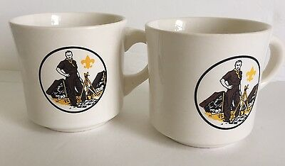 Vintage 1970's  BOY SCOUT Scouts Coffee Mug Camping Fire Tent Leader Campfire