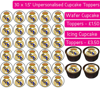 30 Real Madrid Football Team Edible Wafer & Icing Cupcakes Toppers Party Fc