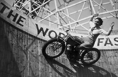 1930's Woman Daredevil/WALL OF DEATH/4X6 B&W Photo Reprint