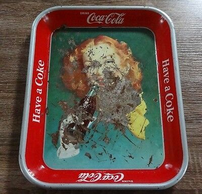 Rare 1948 Vintage Coca Cola Metal Serve Tray! Have A Coke! Red Hair Girl Lady!