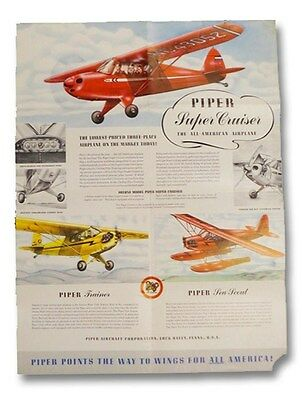 1940s Piper Aircraft Promotional Poster Aviation Flight Airplanes Super Cruiser