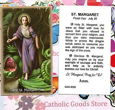 Saint Margaret of Antioch with Prayer to St. Margaret -  Paperstock Holy Card