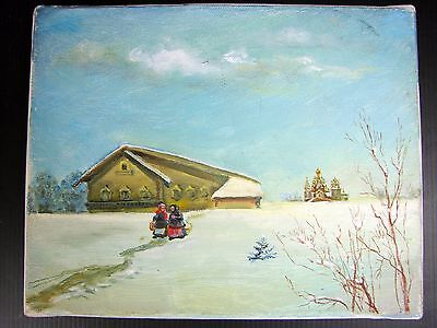 Vintage Russian Oil Painting on Canvas Snowy landscape signed RUSAKOVA