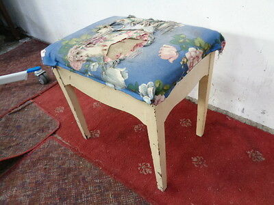Vintage  Style Piano Stool  Fabric Seat