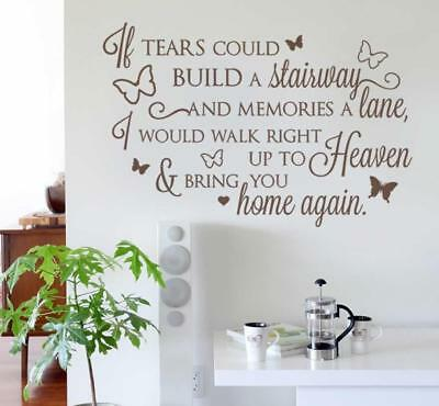 If Tears Could Build a Stairway Wall Sticker Wall Chick Decal Art Sticker Quote