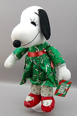 Vintage Snoopy Sister Belle Plush Peanuts  Candy Cane Dress Christmas NOS