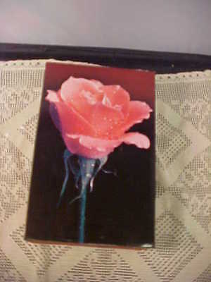 Amaretto Liquor Box With Pink Rose Gold Foil Lined Inside Red Felt Outside Used