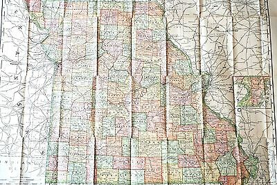 1888/1894 FOLD-OUT RAND  McNALLY BUSINESS MAP OF MISSOURI  W/ INDIAN TERRITORY