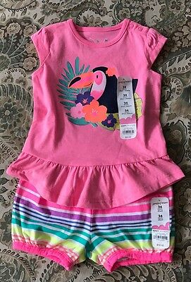 NWT Jumping Beans Girls Toddler Baby Size 24m 2pc Set Shorts And Top