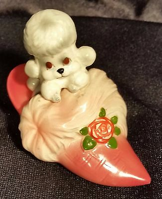 Vintage POODLE in BEDROOM SLIPPER Shoe Figurine Statue Ceramic Puppy Collectible