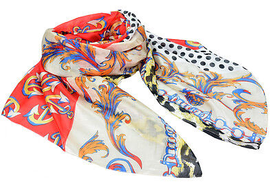 "Women's 100% Satin Silk Scarf / Multi-colored / Patchwork / 72"" X 44"""