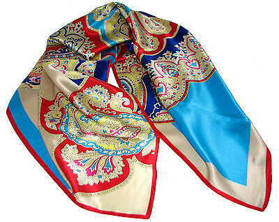 "Women's 100% Satin Silk Scarf / Multi-colored / Paisley Print / 34"" X 34"""