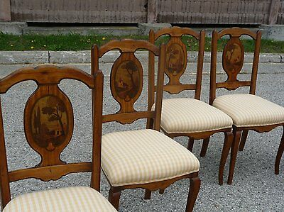 Six French Art Deco Chairs - Antique, Fruitwood, Inlay, Inlaid Wood