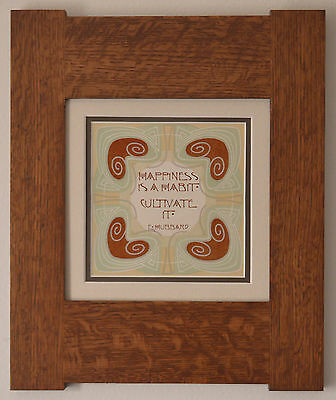 Mission Style Bungalow Quartersawn Oak Arts & Crafts Framed Print- Happiness