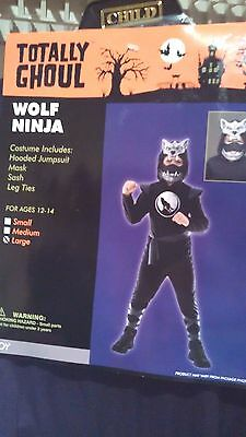 Boys Totally Ghoul Wolf Ninja Costume Halloween Dress Up Size Large Ages 12-14