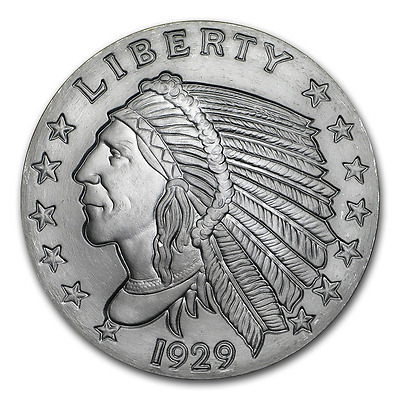 2~Oz ~ Pure .999 Silver ~ Incuse  Indian  Head ~ Awesome ~ $51.88 ~ Buy It Now !