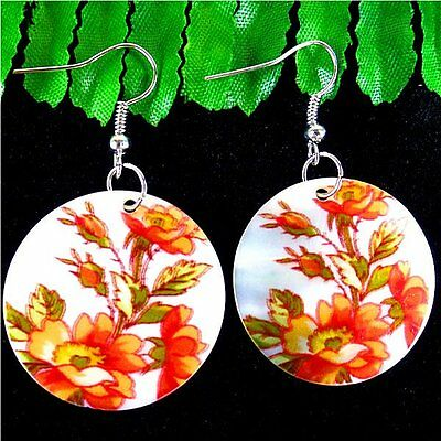 A Pair Of Charming Colored Drawing Shell Pendant Earrings 30*48mm DF36529