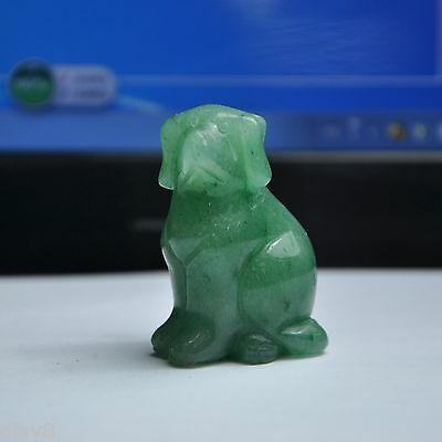 "New Arrival ""OL8"" Aventurine Quartz Green Jade Bless Dog Statue 47x30x20mm"