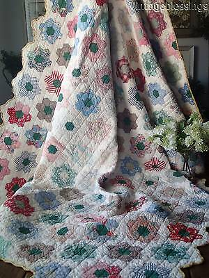"Tiny Pieces! VINTAGE Cottage Home 1930s Feedsack Flower Garden QUILT 80"" x 63"""